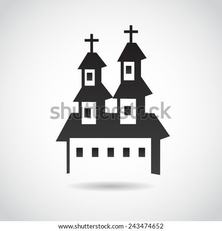 Church icon isolated on white background. Vector illustration. - stock vector