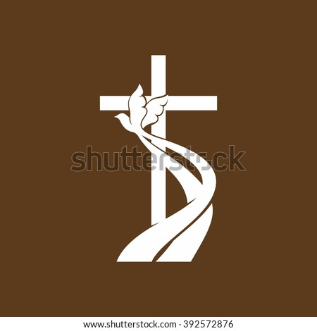 Church logo. Christian symbols. Cross and Holy spirit - stock vector