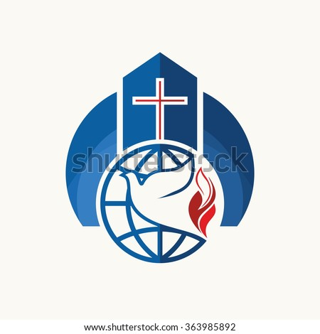 Church logo christian symbols cross dove stock vector 2018 church logo christian symbols cross dove flame and globe altavistaventures Images