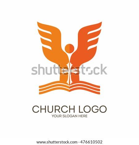 Church Logo Christian Symbols Scripture Angel Stock Vector Royalty