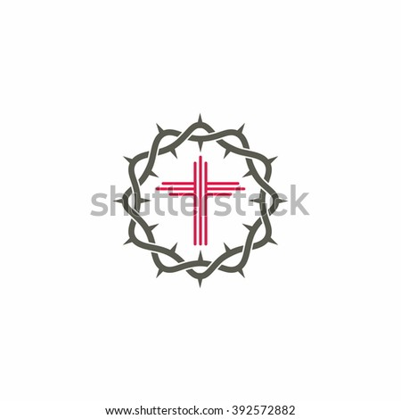 Church logo. Christian symbols. The Cross of Jesus Christ and crown of thorns - stock vector