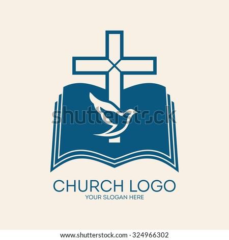 Church logo. Cross and open bible, dove, Holy spirit - stock vector