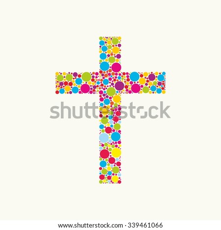 Church logo. Cross consists of colored elements - stock vector