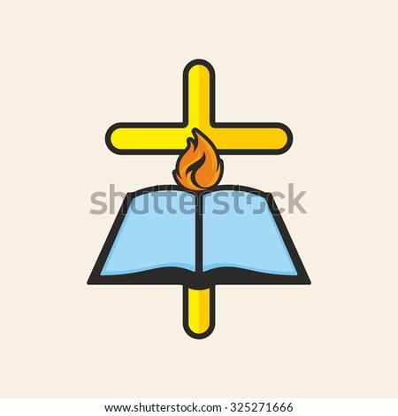 Church logo. Cross, open bible, flame - stock vector