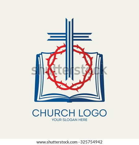 Church logo. Crown of thorns, cross and bible. - stock vector