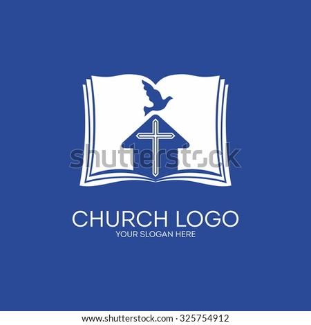 Church logo. House, cross, dove, bible. - stock vector