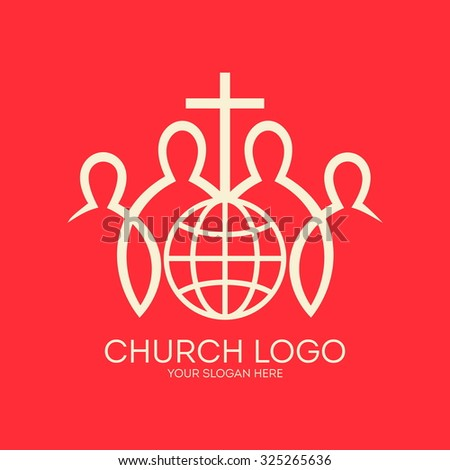 Church logo. People around the globe with a cross. Missions, christian fellowship, cross, members, globe, world, icon - stock vector