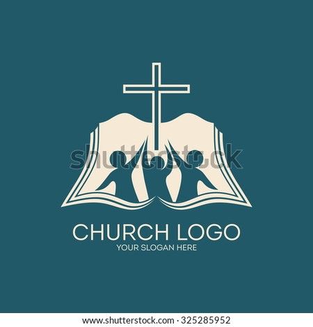 Church logo. People with raised hands to the cross, open bible. - stock vector