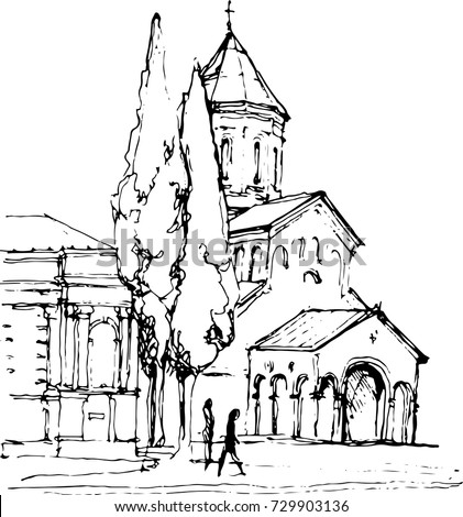 Church outline hand drawn ink sketch stock vector illustration