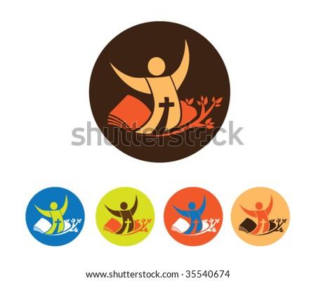 Church School Icon - stock vector