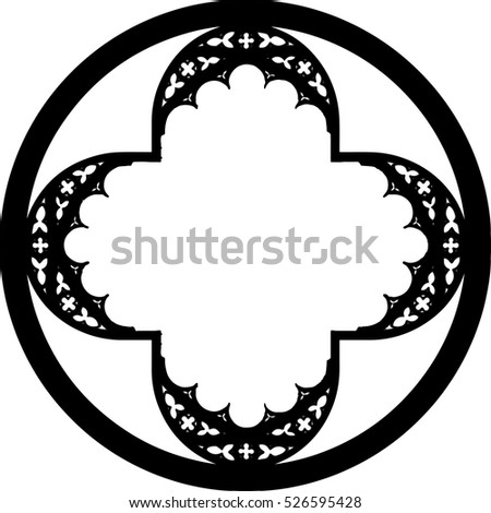 Church Stained Glass Gothic Window Shape In A Form Of Round Cross Circle