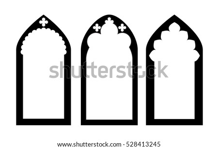 Church Stained Glass Gothic Windows Vector Illustration Graphic Element Design