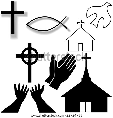Churches, crosses, holy spirit dove, fish symbol, hands praying and in supplication, as a Christian Symbol Icons Set. - stock vector