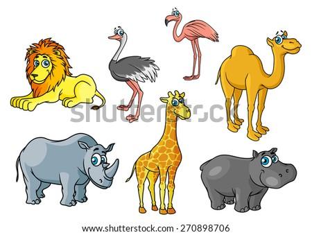 Chute cartoon african wild animals and birds characters including lion, giraffe, flamingo, hippo, camel, rhino, ostrich for savannah wildlife concept - stock vector