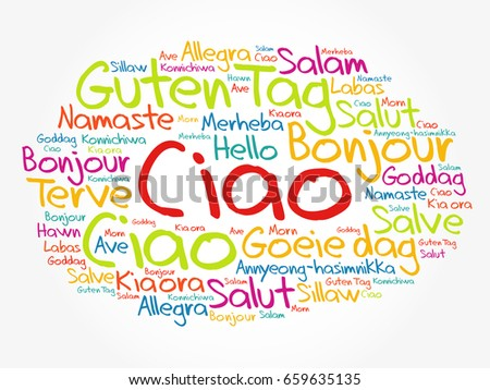 Ciao hello greeting italian word cloud stock vector 659635135 ciao hello greeting in italian word cloud in different languages of the world m4hsunfo