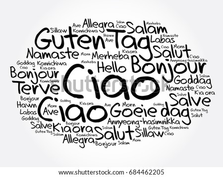 Ciao hello greeting italian word cloud stock vector 684462205 ciao hello greeting in italian word cloud in different languages of the world m4hsunfo
