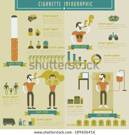 Cigarette and smoking info graphic - stock vector
