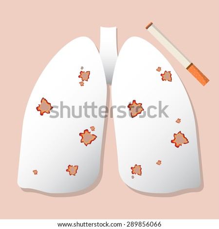 cigarette burning lung paper. - stock vector