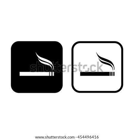 Cigarette icon vector. Allowed smoking sign - stock vector