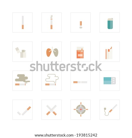 Cigarette icons set.  - stock vector