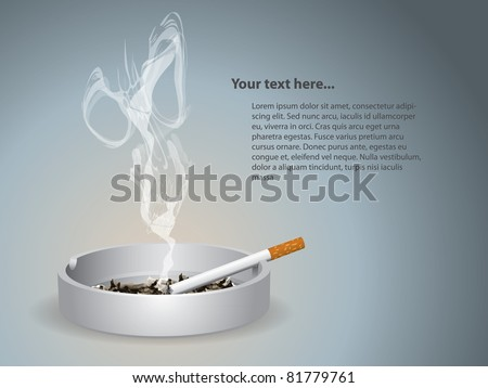 Cigarette lighted is on the ashtray - stock vector