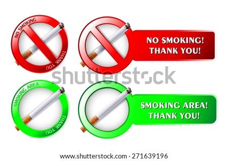 Cigarette, no Smoking signs, Smoking area. - stock vector