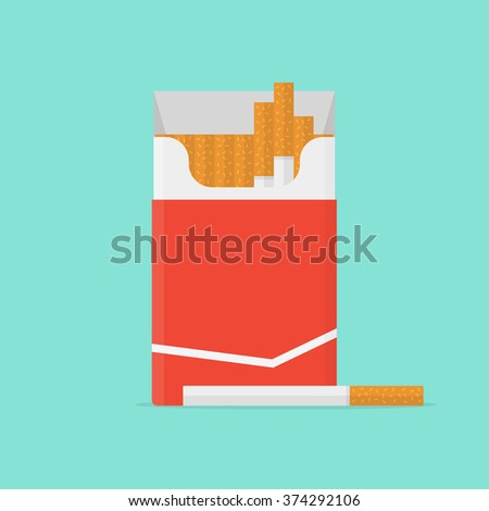 Cigarette pack in flat style. Cigarette isolated. Cigarette box on color background. Cigarette icon. Cigarette vector illustration. Open cigarettes pack. Cigarette packet. - stock vector