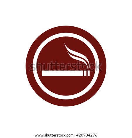 Cigarette vector icon. Allowed smoking sign. Red circle. Red button - stock vector