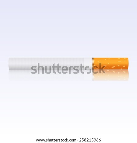 Cigarette with reflection. Vector Illustration