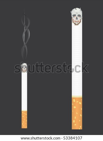 Cigarette with skull and smoke - stock vector