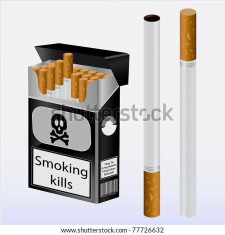 cigarettes and cigarette pack - stock vector