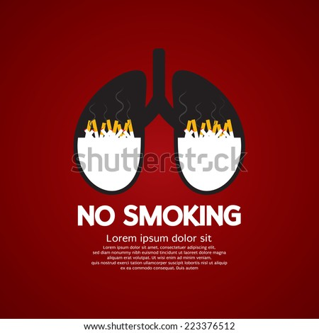 Cigarettes Ash In Lung-No Smoking Concept Vector Illustration - stock vector