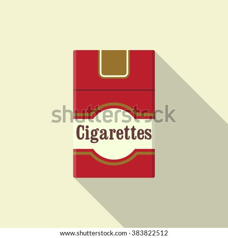 Cigarettes pack flat icon. Closed pack of cigarettes. Red cigarettes pack. Cigarettes pack vector illustration. Vintage cigarettes pack. Flat design