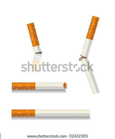 cigarettes set. broken cigarette, fully cigarette, extinct cigarette, stub - stock vector