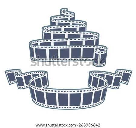 Ciinema video film tape. Eps10 vector illustration. Isolated on white background - stock vector