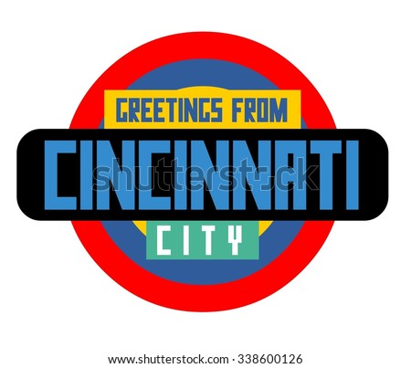 Cincinnati beautiful city to visit. vector cartoon - stock vector