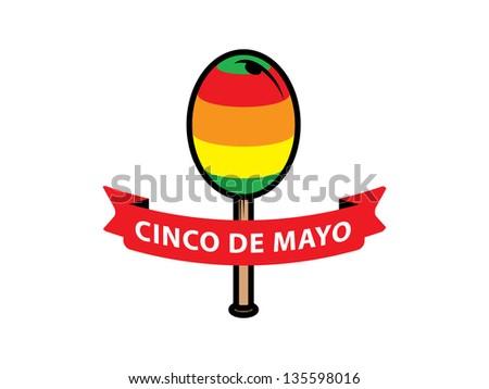 Cinco De Mayo Banner with One Maraca. - stock vector