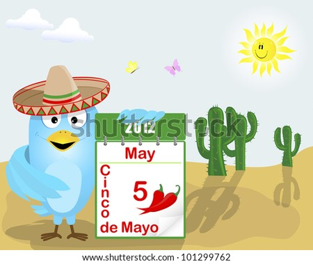 Cinco de Mayo. Blue Bird in a sombrero with a calendar against the landscape with cacti and a cute sun. 10EPS. Vector illustration.