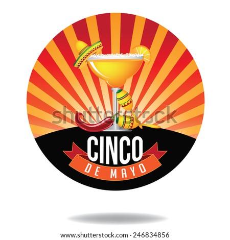 Cinco De Mayo burst Icon EPS 10 vector royalty free stock illustration perfect for ads, menu design, coaster design, poster, flier, signage, party invitation - stock vector