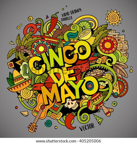 Cinco de Mayo. Cartoon vector hand drawn Doodle illustration. Colorful detailed design background with objects and symbols. All objects are separated - stock vector