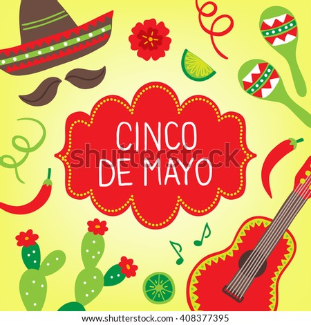 Cinco de mayo fifth may greeting stock vector royalty free cinco de mayo fifth of may greeting card with maracas sombrero cactus m4hsunfo