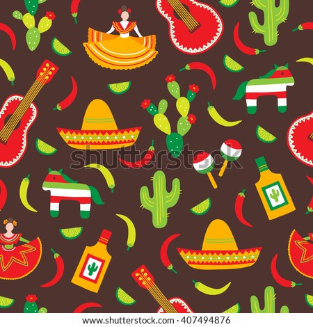 Cinco de Mayo (Fifth of May) seamless pattern with cactus, maracas, guitar, chili pepper, lime, sombrero and dancing woman. Perfect for wallpaper, gift paper, pattern fills, Mexican greeting cards.  - stock vector