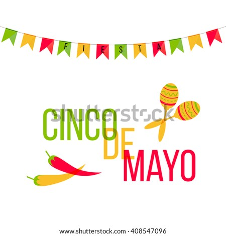 Cinco de Mayo mexican greeting card. Vector illustration with colorful flags and phrase Fiesta, jalapeno, cactus, sombrero and maracas. - stock vector
