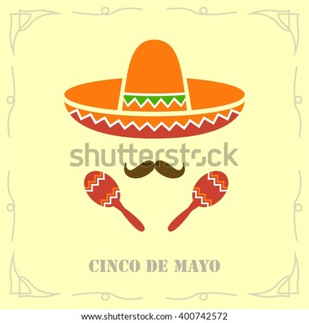 Cinco de Mayo Moustache. Vector Illustration