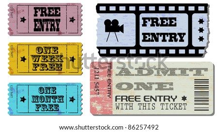 Cinema and admit one ticket Illustrations - stock vector