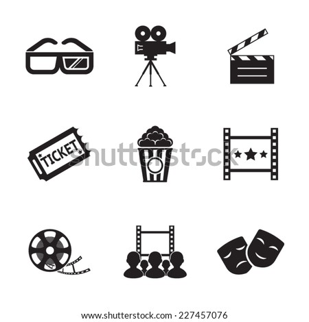 Cinema and Movie icon set modern trendy silhouette isolated vector illustration - stock vector