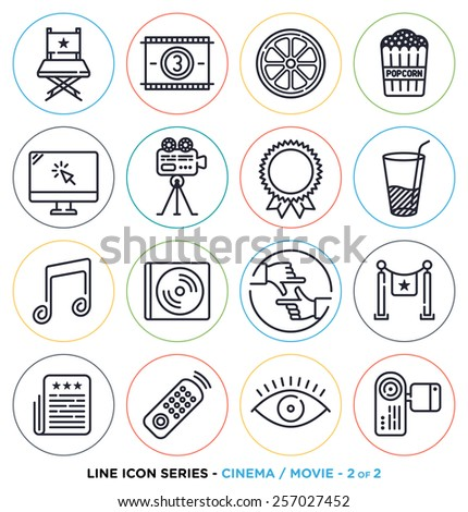 Cinema and movie line icons set. Vector collection of entertainment business symbols & objects. - stock vector