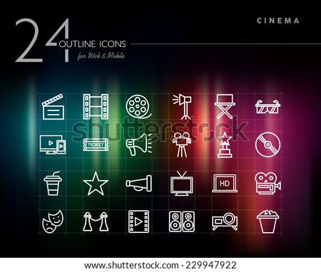 Cinema and movie outline icons set for web and mobile app. EPS10 vector file organized in layers for easy editing. - stock vector