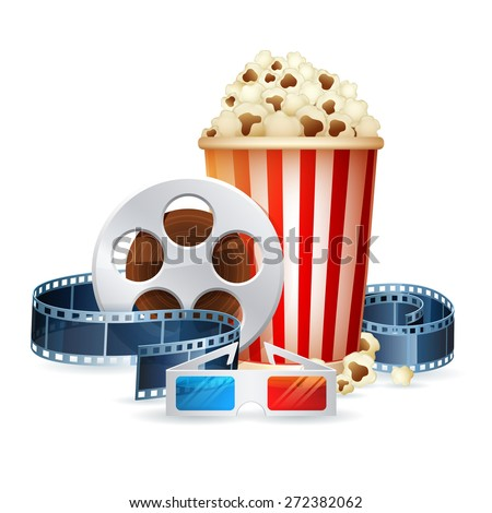 Cinema and movie realistic objects isolated on white, film reel, clapper, popcorn, 3D glasses detailed vector illustration - stock vector