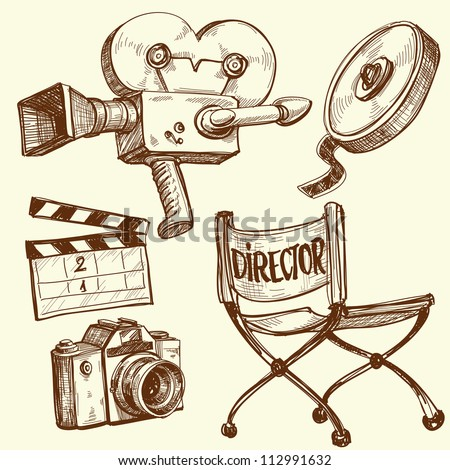 Cinema and photography vintage set - stock vector